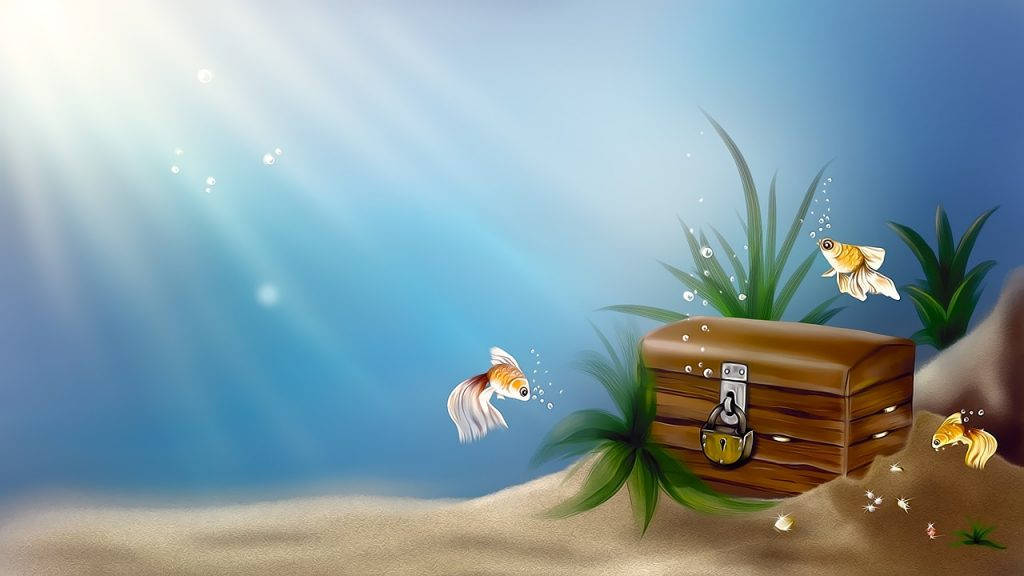 Illustration of the seabed. Three yellow angle fish swim around a locked, wooden treasure chest.