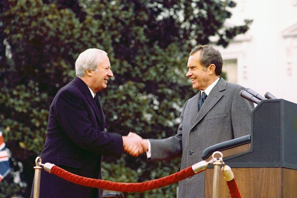 Ted Heath [left] shaking hands with President Richard Nixon [right] at the White House 1973.
