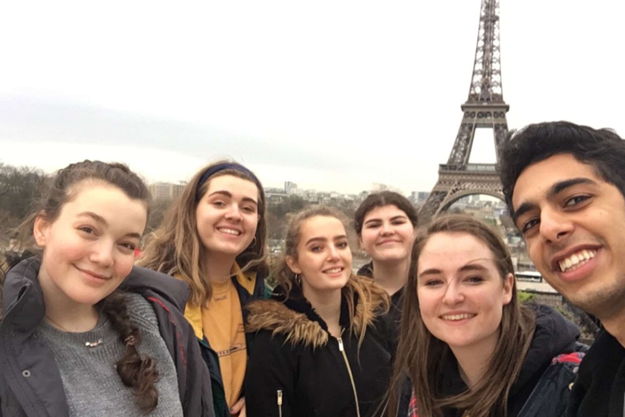 First-year students in front of the Eiffel Tower