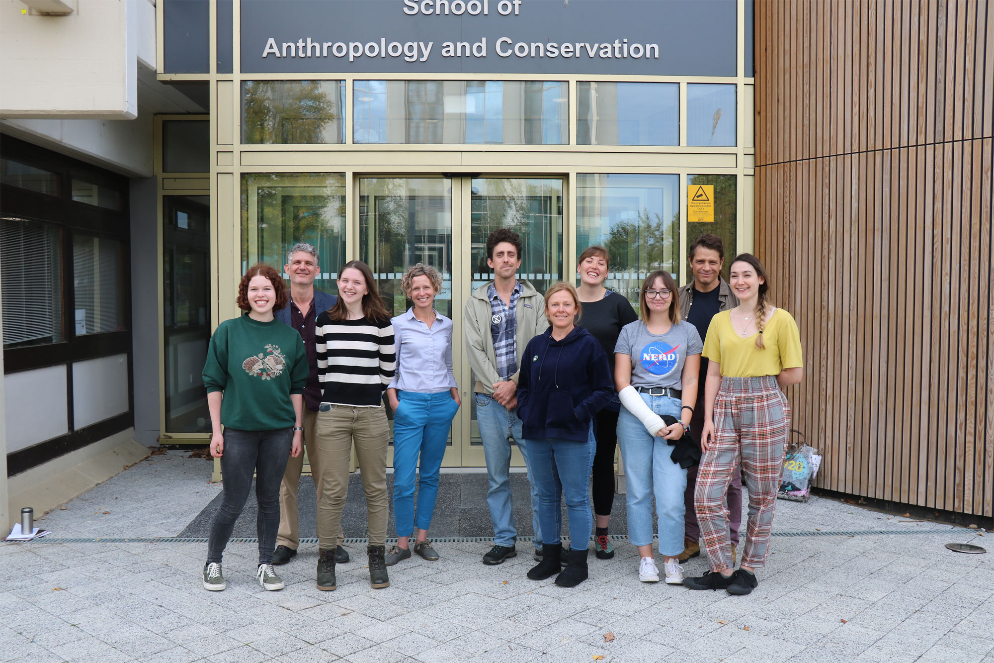 Members of the Sustainability Working Group outside the School of Anthropology and Conservation