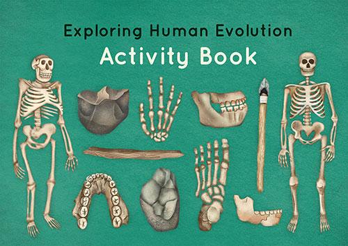 'Exploring human evolution' activity book, including several activities (e.g. colouring sheets, maze, word scramble, matching activities).