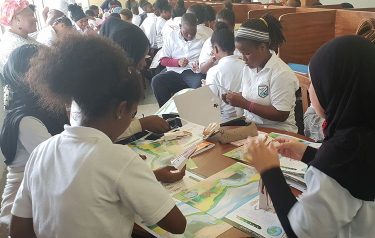 Students at the Tanzania National Museum and House of Culture, Dar es Salaam, Tanzania using the educational materials. Photo credit: A. Gidna