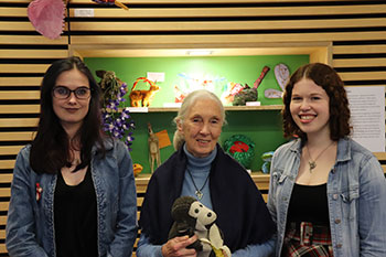 Jane Goodall with BSc Wildlife Conservation students Chandra Pasquil (left) and Hannah Parker.