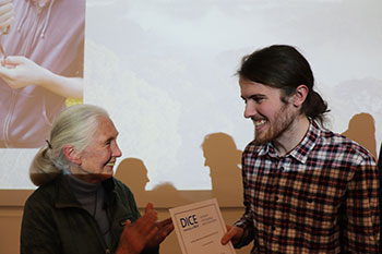 Jane Goodall with Kieran Richardson, winner of the Sir Robert Worcester prize for Outstanding Undergraduate Student.