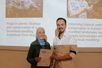 Jane Goodall with Dr Nicolas Deere, winner of the Mike Walkey Prize (with Dr Izabela Barata) for Outstanding PhD Research.