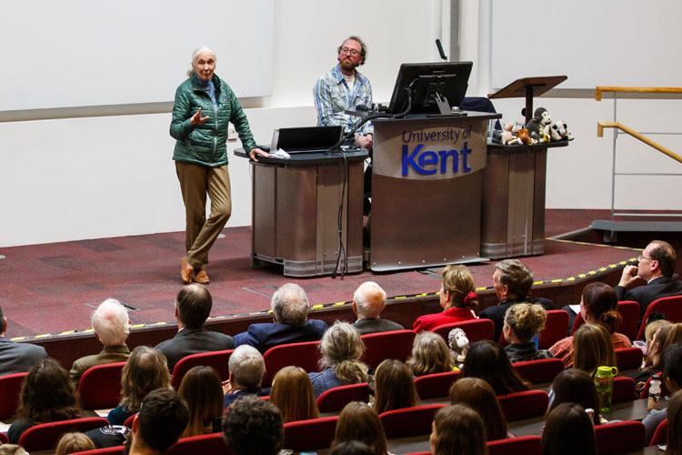 Dr Jane Goodall on stage in the Woolf Lecture Theatre