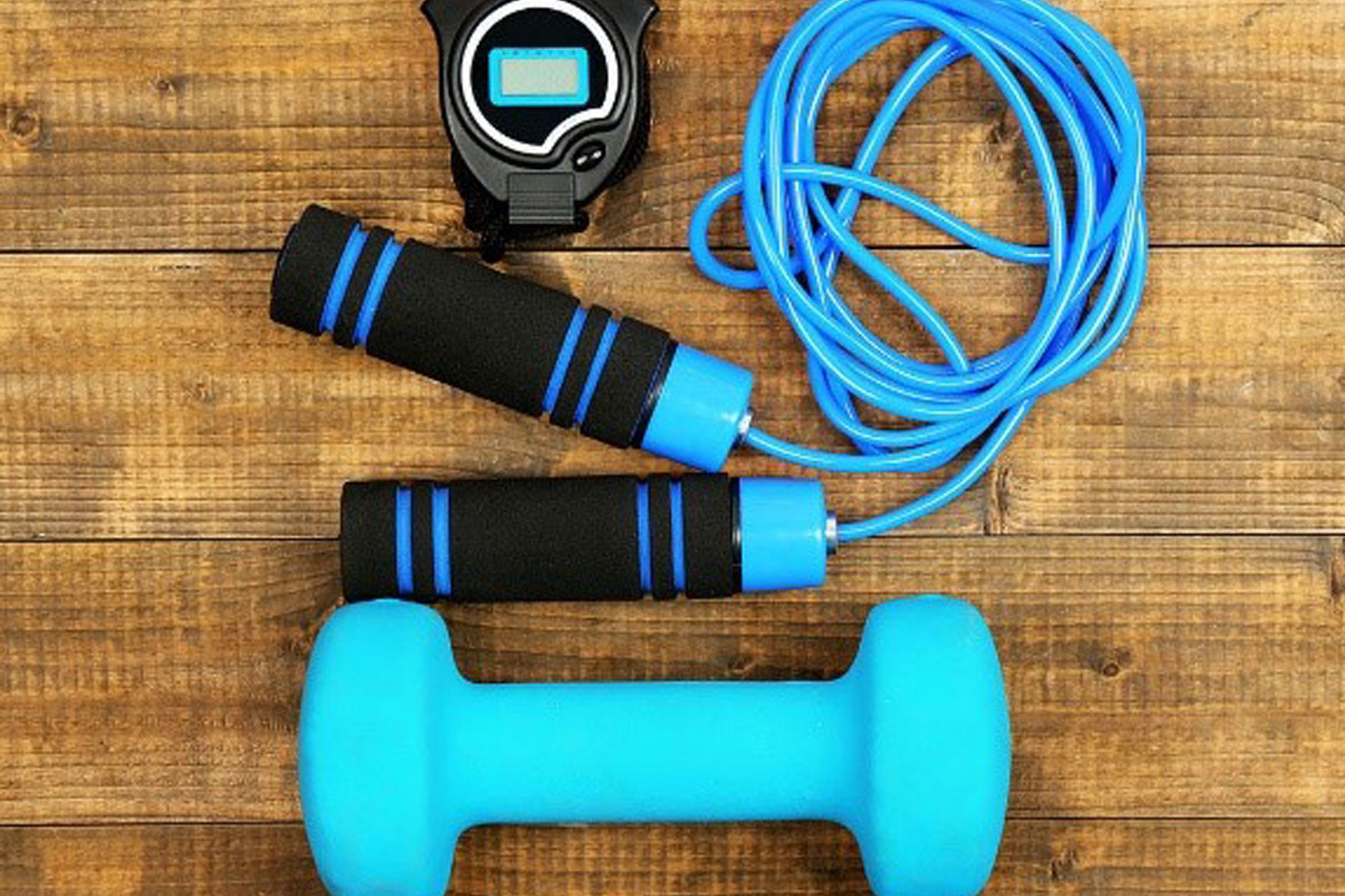 Keep Fit items including weights, skipping rope and stopwatch