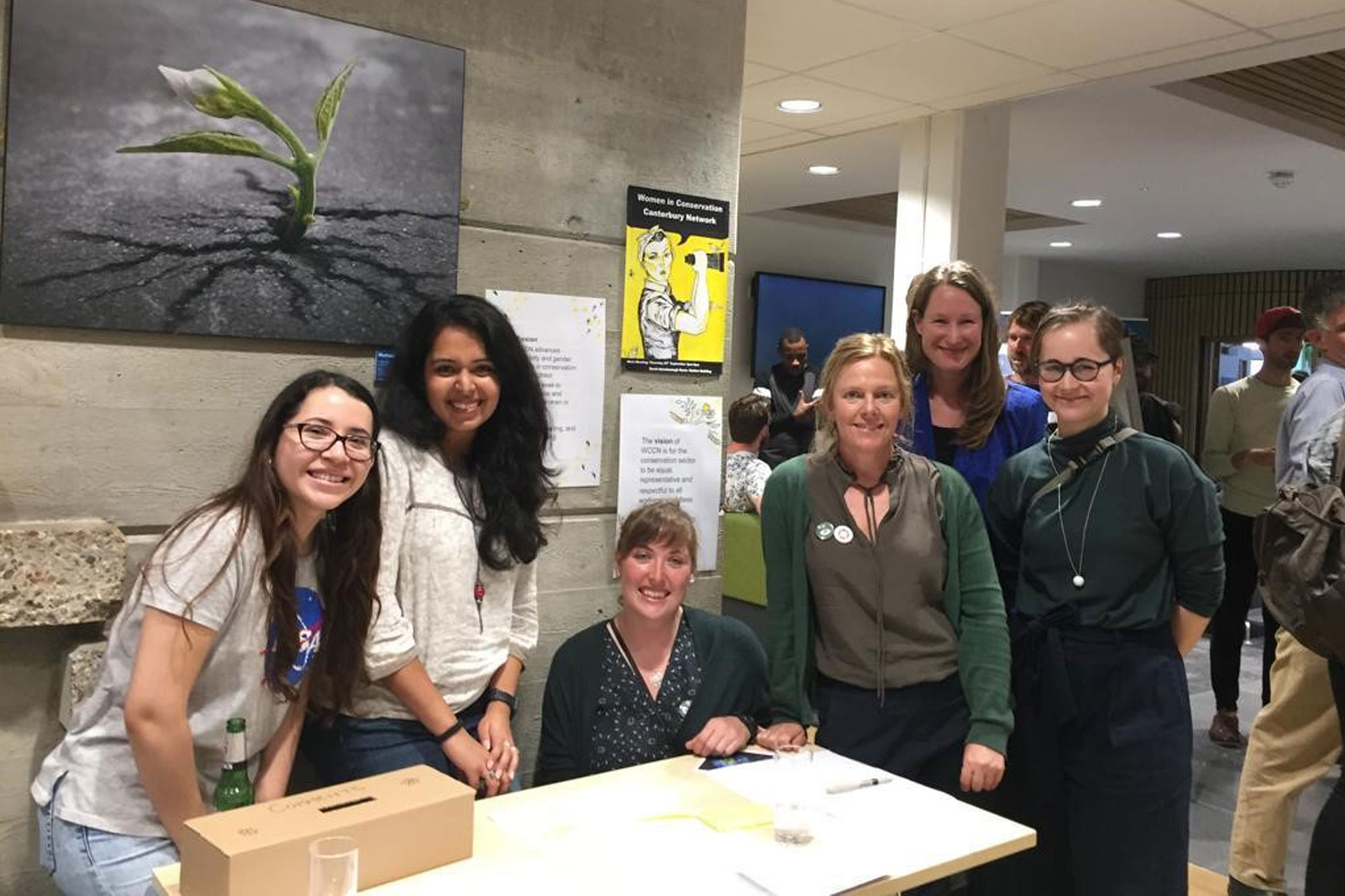 Members of the Women in Conservation Canterbury Network in the foyer of the School of Anthropology and Conservation