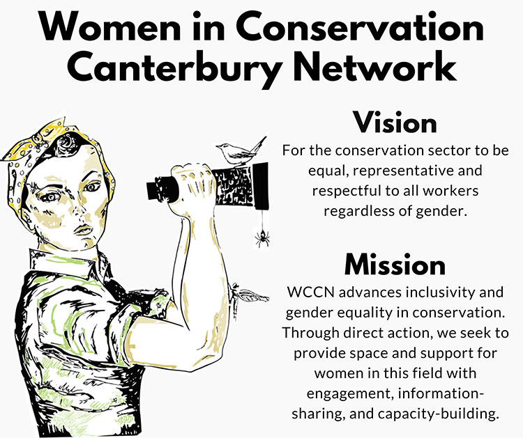 WCCN logo: Vision - For the conservation sector to be equal, representative and respectful to all workers regardless of gender. Mission - WCCN advances inclusivity and gender equality in conservation. Through direct action. we seek to provide space and support for women in this field with engagement, information-sharing and capacity-building.