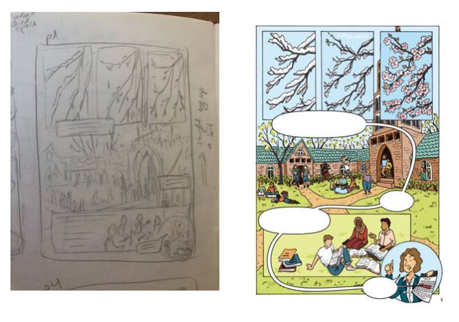 An early draft of the book compared to the final illustration.