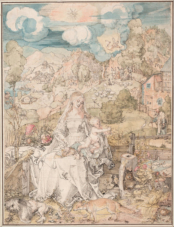 Fig.2. Albrecht Dürer's Madonna with a Multitude of Animals, 1503. Pen and ink and watercolour on paper, 32.1x24.3cm. Vienna, Graphische Sammlung Albertina.