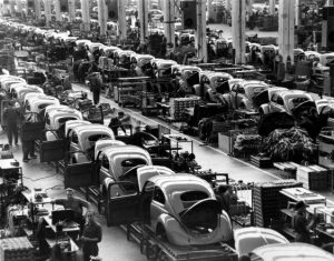Volkswagen Beetles on a production line.