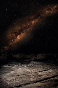 An image of the 'Emu in the Sky' (Milky Way) constellation, with the Emu engraving in Kuring-gai-Chase National Park, NSW