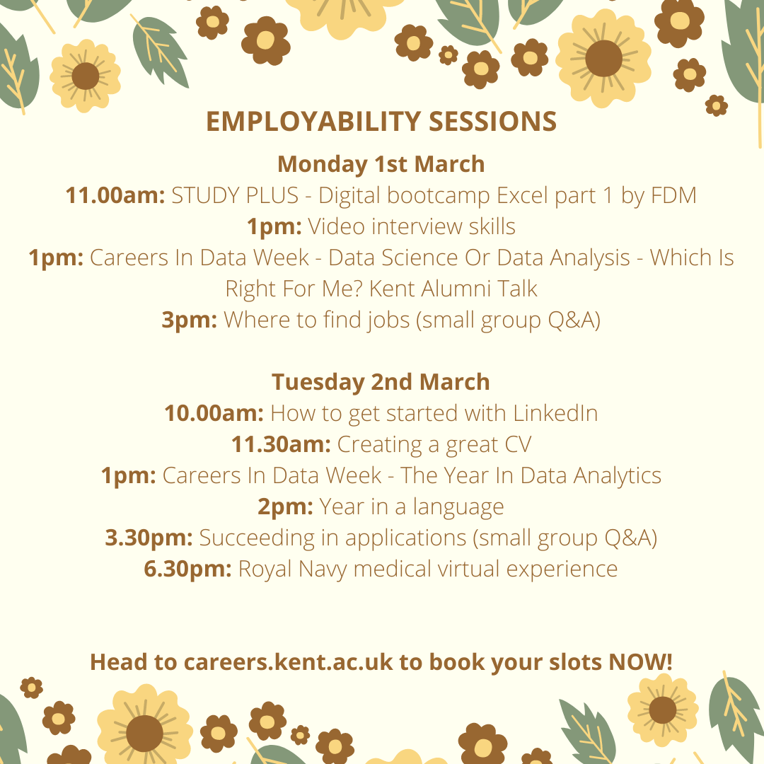 Careers events week beginning 1 March