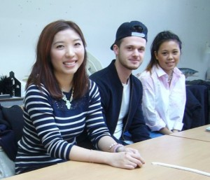 Charlotte Lam (left) talks to students about her career experiences