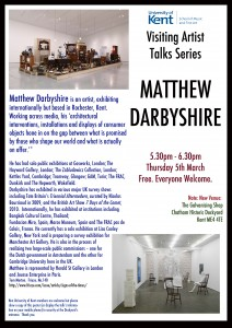 Matthew Darbyshire Visiting Artists Talk 5th March 5.30pm SMFA