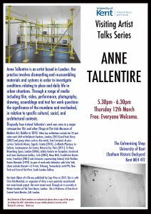 Anne Tallentire Visiting Artists Talks Poster