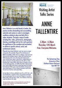 Anne Tallentire Visiting Artists Talks Poster