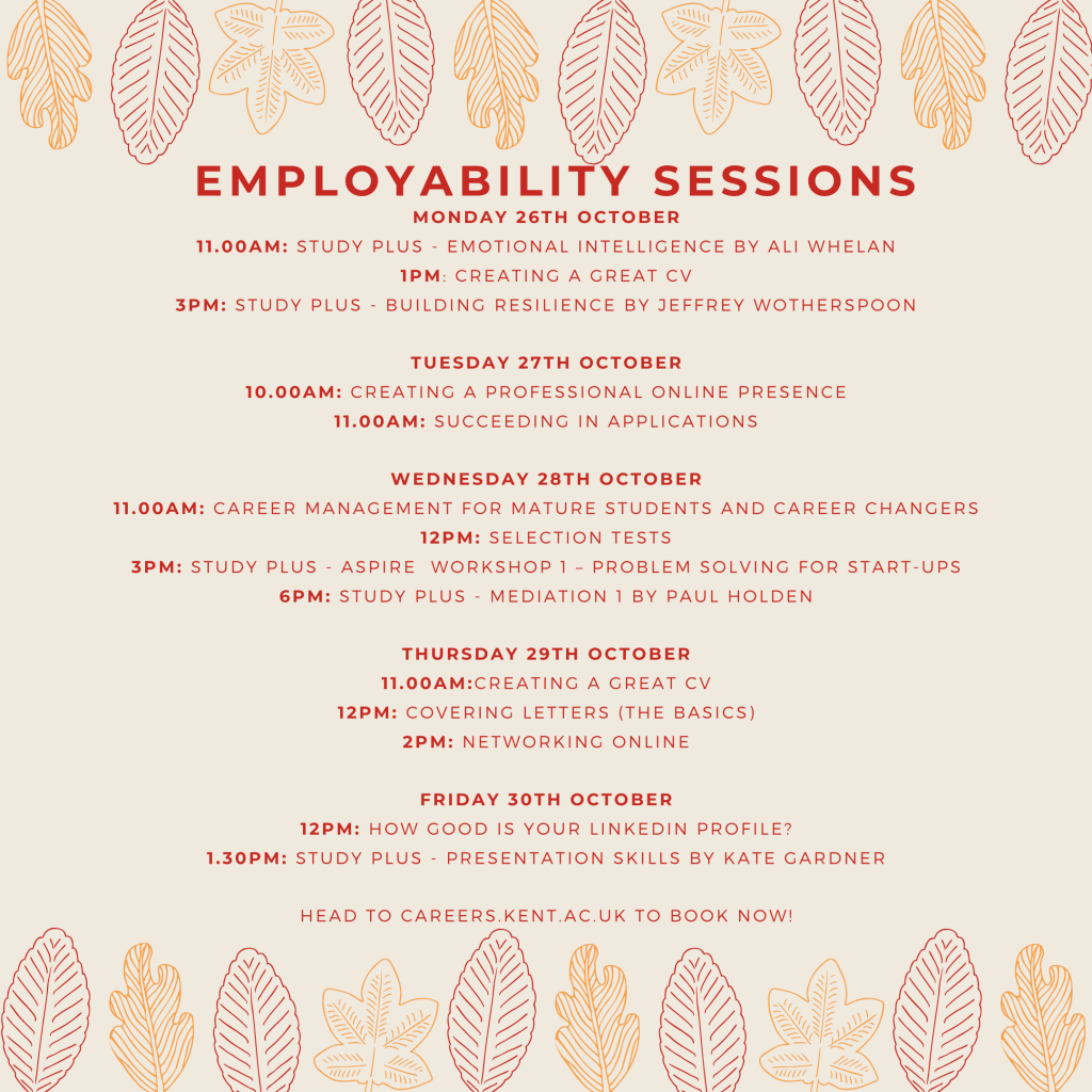 careers events week commencing 26 Oct