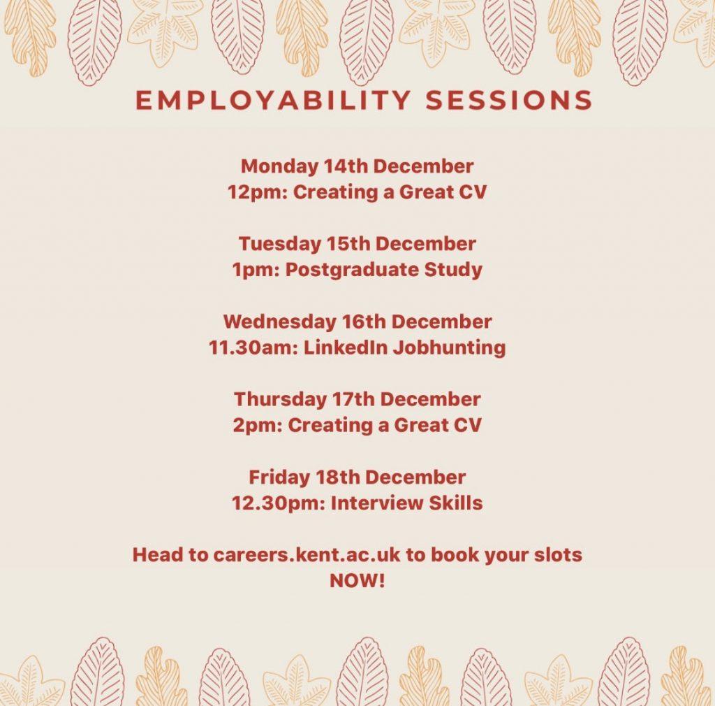 Careers events week commencing 14 December