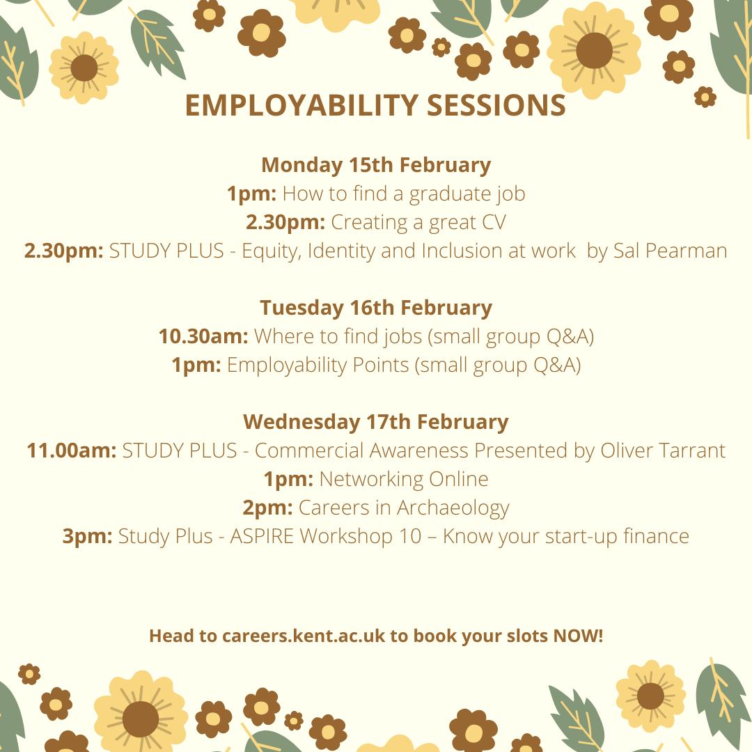 Careers events week beginning 15 Feb
