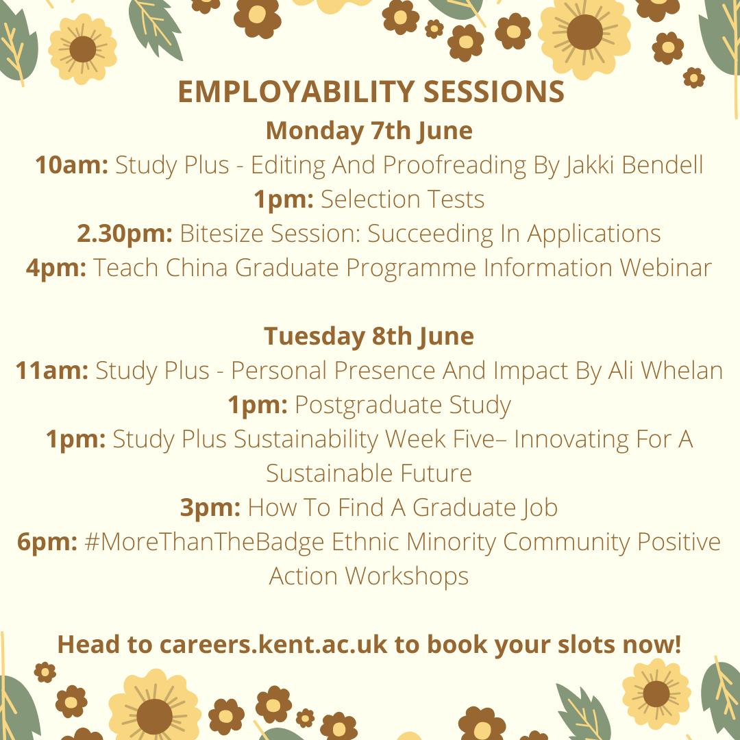 Careers events week beginning 7 June