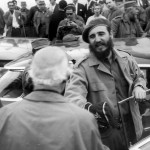 Fidel Castro talking to Hewlett Johnson
