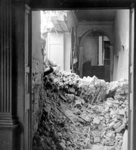 Interior photograph of the Deanery after bomb damage, 1940