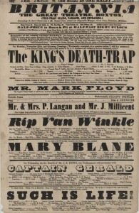Playbill from Britannia Theatre, 25th November 1867