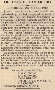 Canons' letter to the Times, 1940