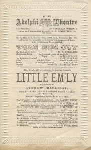 Programme for Little Em'ly at the Adelphi Theatre, 1875