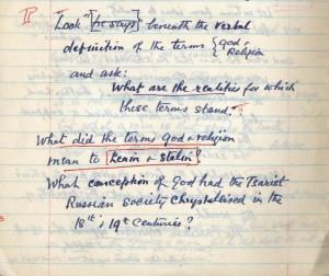 Johnson's manuscript notes