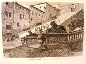 An engraving of the steps to the Ara-Coeli