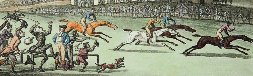 A Thomas Rowlandson illustration showing a British racecourse c.1820