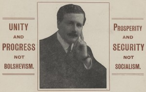 Section of Kingsley Wood's election poster for 1918.