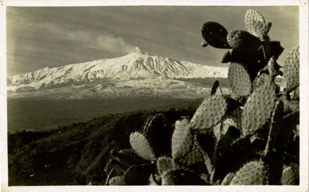 1930s postcard of Mount Etna