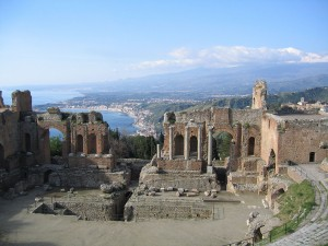 A modern view of the theatre at Taormina