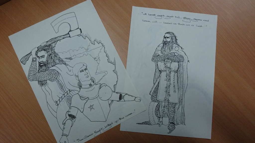 Two illustrations from the teaching booklet, featuring Gawain and the Green Knight themselves
