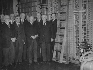 Wood visiting the Hull Telephone Exchange in 1935