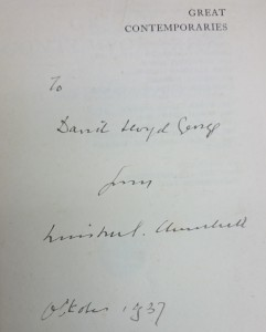 Dedication inscription to Lloyd George from Churchill in Great Contemporaries