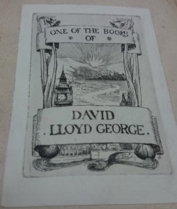 The bookplate adorning the collection of David Lloyd George