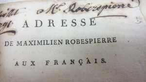 Robespierre's signature on a book of French pamphlets