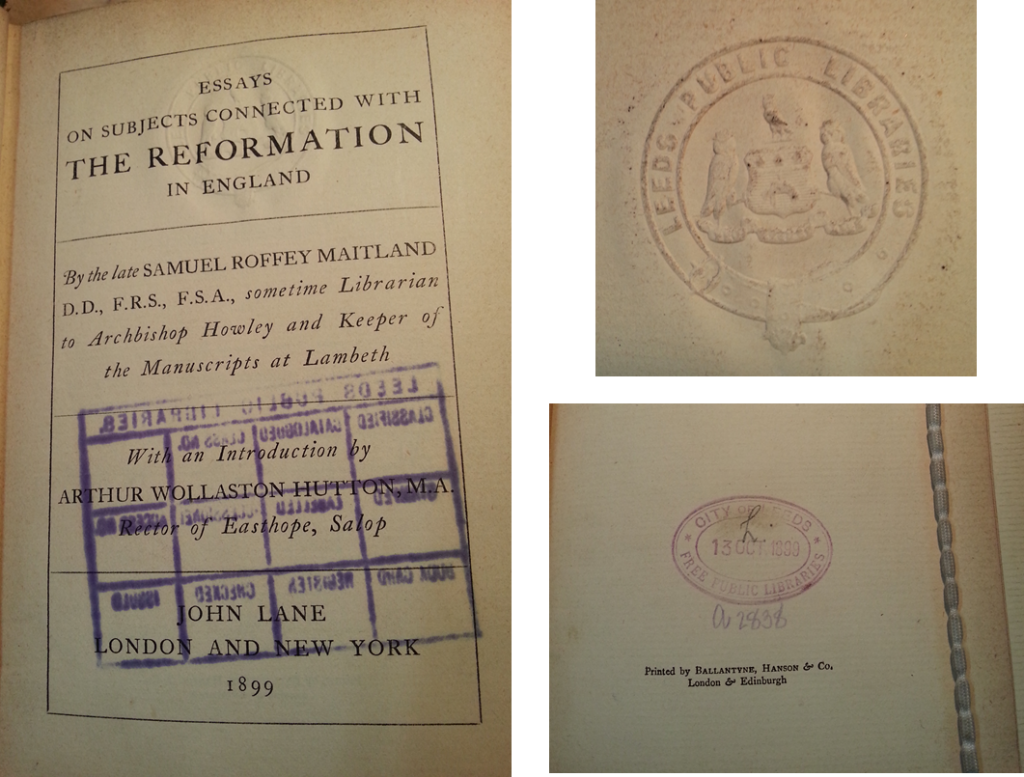 Clockwise from the left: Title page with accession stamp markings on opposite page that have penetrated through ; Embossed Leeds Public Library stamp marked on several of the front and rear pages ; 'City of Leeds Free Public Libraries' date of acquisition stamp marked on the last page of the book.