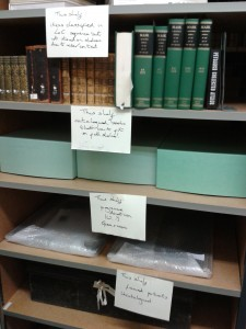 Photograph of labelled shelves.
