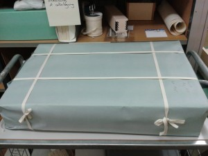 A photograph of KW19 scrapbook, prepared for the move.