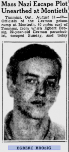 Excerpt from a 1943 Montreal Gazette article describing Brosig as a leader of a mass escape.