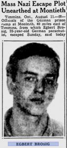 Excerpt from a 1943 Montreal Gazette article describing Brosig as a leader of a mass escape.