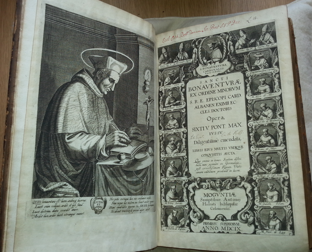 Title page and frontispiece from 'Sancti Bonaventurae ex Ordine Minorum S.R.E. Episcopi Card. Albanen. eximii Eccles. doctoris Opera'