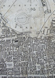 Image of an early 19th century map of Regent's Park and surrounds, London.