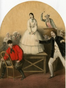 A lithograph showing a scene from the Octoroon
